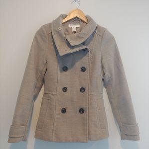 H&M Tan Button Pea Coat Jacket Women Size 2 Small